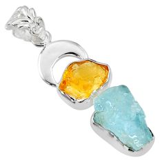 13.71cts natural aqua aquamarine rough citrine rough 925 silver pendant r65045