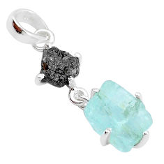 8.15cts natural aqua aquamarine raw diamond rough 925 silver pendant t4330