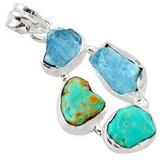 16.73cts natural aqua aquamarine rough fancy 925 silver pendant r40326