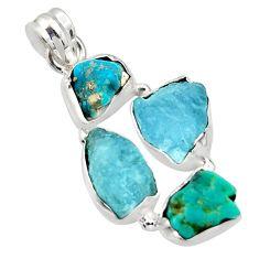 18.15cts natural aqua aquamarine rough fancy 925 silver pendant r40328