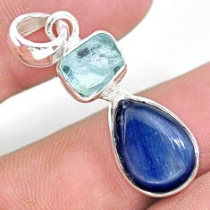 9.16cts natural aqua aquamarine raw fancy kyanite 925 silver pendant t25468
