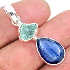 8.26cts natural aqua aquamarine raw fancy kyanite 925 silver pendant t25483