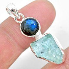 9.16cts natural aqua aquamarine raw fancy labradorite silver pendant t25464