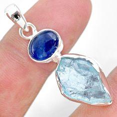 8.56cts natural aqua aquamarine raw kyanite 925 sterling silver pendant t25465