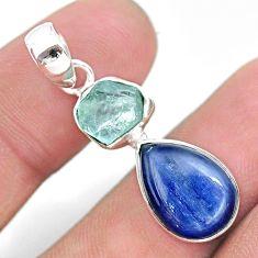 8.73cts natural aqua aquamarine raw kyanite 925 sterling silver pendant t25480