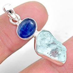 8.26cts natural aqua aquamarine raw kyanite 925 sterling silver pendant t25485