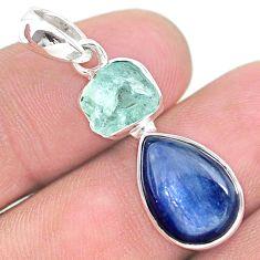 8.22cts natural aqua aquamarine raw kyanite 925 sterling silver pendant t25508