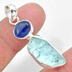 9.61cts natural aqua aquamarine raw kyanite 925 sterling silver pendant t25512