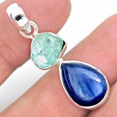 9.86cts natural aqua aquamarine raw kyanite 925 sterling silver pendant t25533