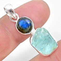 10.32cts natural aqua aquamarine raw labradorite 925 silver pendant t25462