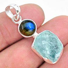 9.37cts natural aqua aquamarine raw labradorite 925 silver pendant t25482