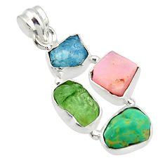 16.06cts natural aqua aquamarine rough moldavite opal 925 silver pendant r40345