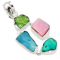 15.10cts natural aqua aquamarine rough moldavite opal 925 silver pendant r40354