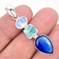 12.10cts natural aqua aquamarine raw moonstone 925 silver pendant t25436
