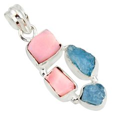 12.62cts natural aqua aquamarine rough opal 925 sterling silver pendant r26867