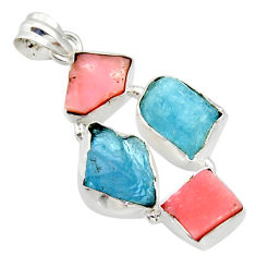 21.48cts natural aqua aquamarine rough opal 925 sterling silver pendant r40311