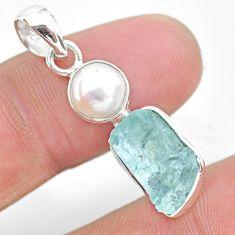 7.93cts natural aqua aquamarine raw pearl 925 sterling silver pendant t25469