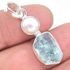 8.73cts natural aqua aquamarine raw pearl 925 sterling silver pendant t25516