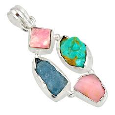 14.47cts natural aqua aquamarine rough pink opal 925 silver pendant r26880