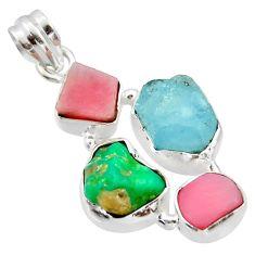17.42cts natural aqua aquamarine rough pink opal 925 silver pendant r40309