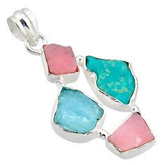 15.89cts natural aqua aquamarine rough pink opal 925 silver pendant r40310