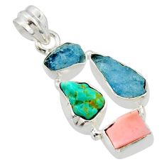 14.47cts natural aqua aquamarine rough pink opal 925 silver pendant r40313