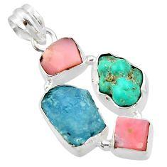 16.39cts natural aqua aquamarine rough pink opal 925 silver pendant r40314