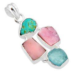 16.54cts natural aqua aquamarine rough pink opal 925 silver pendant r40315