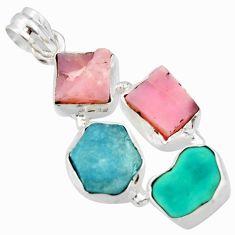 17.42cts natural aqua aquamarine rough pink opal 925 silver pendant r40318