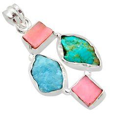 17.57cts natural aqua aquamarine rough pink opal 925 silver pendant r40327