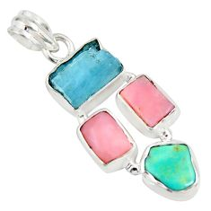 15.02cts natural aqua aquamarine rough pink opal fancy 925 silver pendant r26863
