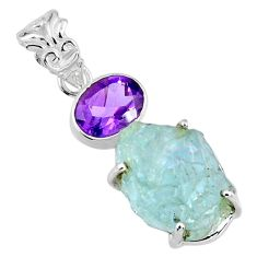 15.65cts natural aqua aquamarine rough purple amethyst 925 silver pendant r57009