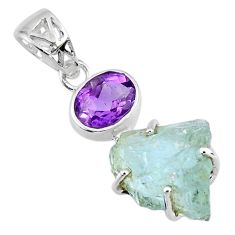 12.22cts natural aqua aquamarine rough purple amethyst 925 silver pendant r57010