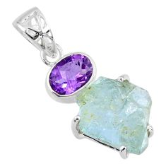 13.67cts natural aqua aquamarine rough purple amethyst 925 silver pendant r57012
