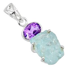 14.79cts natural aqua aquamarine rough purple amethyst 925 silver pendant r57013
