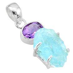 10.76cts natural aqua aquamarine raw purple amethyst 925 silver pendant t20660