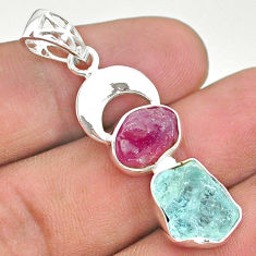 11.07cts natural aqua aquamarine rough ruby moon 925 silver pendant t33602