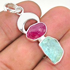 12.43cts natural aqua aquamarine rough ruby moon fancy silver pendant t33603