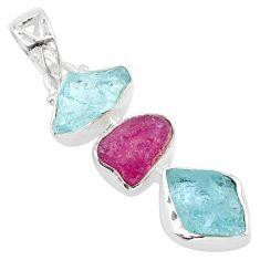 12.12cts natural aqua aquamarine raw ruby raw 925 silver pendant t33322