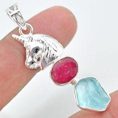 11.27cts natural aqua aquamarine rough ruby raw silver unicorn pendant t33688