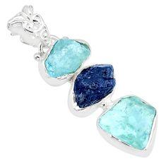 14.45cts natural aqua aquamarine raw sapphire rough 925 silver pendant r83073