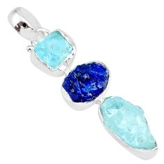 14.47cts natural aqua aquamarine raw sapphire rough 925 silver pendant r83075