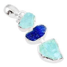 13.56cts natural aqua aquamarine raw sapphire rough 925 silver pendant r83076