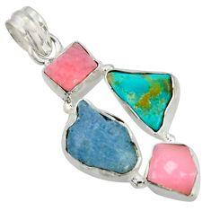 15.02cts natural aqua aquamarine rough turquoise tibetan silver pendant r41874