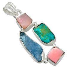 16.73cts natural aqua aquamarine rough turquoise tibetan silver pendant r41875