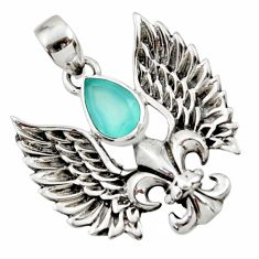 2.46cts natural aqua chalcedony 925 silver feather charm pendant d44845