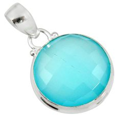16.18cts natural aqua chalcedony 925 sterling silver pendant jewelry d39470