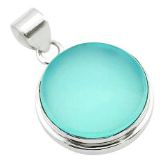 16.46cts natural aqua chalcedony 925 sterling silver pendant jewelry t53804