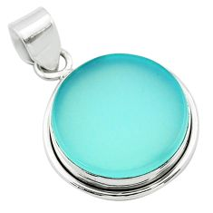 13.67cts natural aqua chalcedony 925 sterling silver pendant jewelry t53808