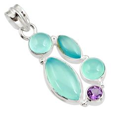 16.73cts natural aqua chalcedony amethyst 925 sterling silver pendant d39468